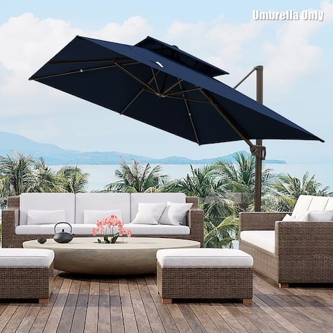 Deluxe 10' x 10' Outdoor Square Double Top Cantilever Umbrella, Base Not Included