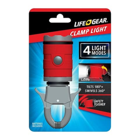 Life Gear TG07-60666-RED LED Clamp Light, 15 lumens, Black
