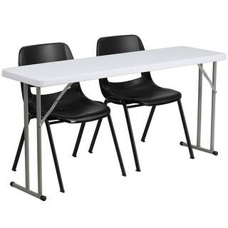 Rivera 3pcs 18''W x 60''L Rectangular Table w/2 Plastic Stack Chairs