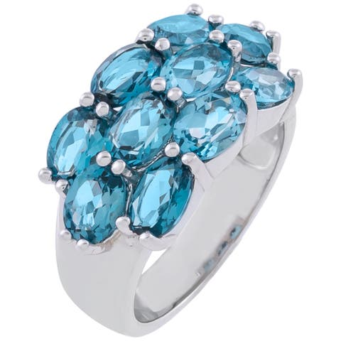 5.90cttw Oval-Cut London Blue Topaz Cluster Ring, Sterling Silver