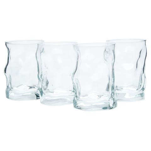 Bormioli Rocco Sorgente Water Drinking Glass With Thick Base, Secure & Easy Grip 10.25 Oz Set Of 4 - Clear