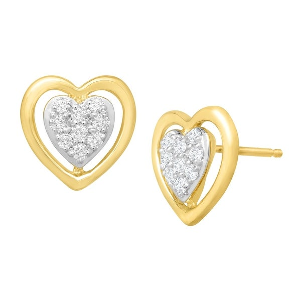 1/4 ct Diamond Heart Stud Earrings in 10K Gold