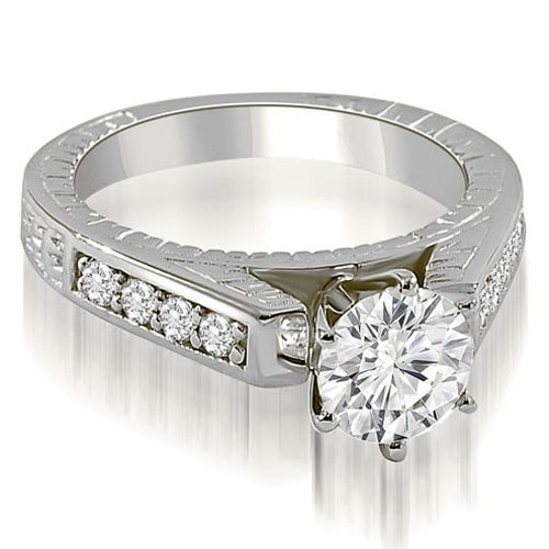 0.75 cttw. 14K White Gold Antique Cathedral Round Cut Diamond Engagement Ring