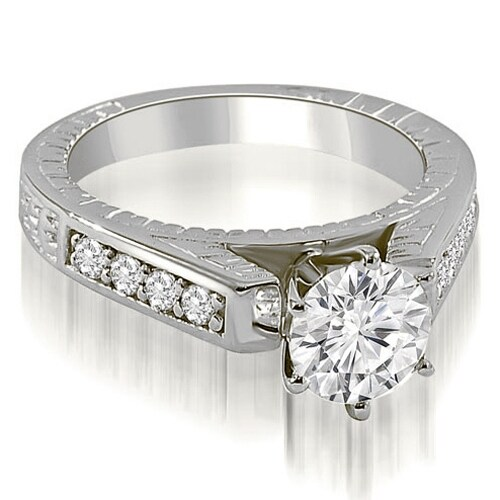 1.25 cttw. 14K White Gold Antique Cathedral Round Cut Diamond Engagement Ring