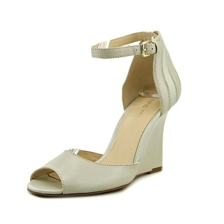 Nine West Benice Women Open Toe Leather Ivory Wedge Heel