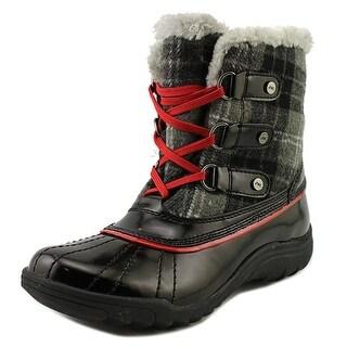 Anne Klein Sport Gailla Women Round Toe Canvas Black Snow Boot