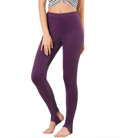 Women's Leggings Solid Color Elastic Waistband Stirrup Pants