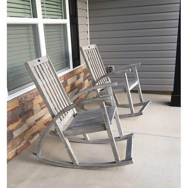 Safavieh Clayton Grey Wash Acacia Wood Rocking Chair Free Shipping Today 9003738