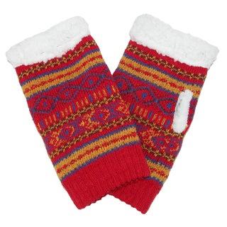 Alotta Knits Women's Knit Texting Gloves with Sherpa Fleece Lining (Option: Orange)
