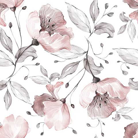 Ranunculus Hand Drawn Flowers Removable Wallpaper - 24'' inch x 10'ft
