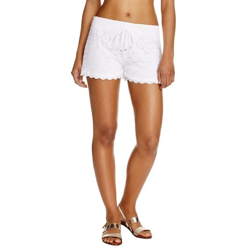 J Valdi Womens Casual Shorts Lace Overlay Scalloped Hem
