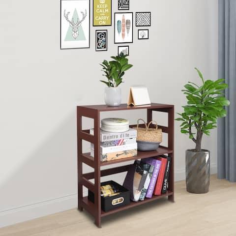 3 Tier Bookcase Shelf Storage Organizer, Brown Color