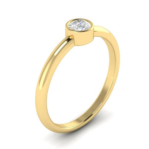 1/2 CTW Bezel-Set Round Cut Diamond Solitaire Engagement Ring 14kt Gold