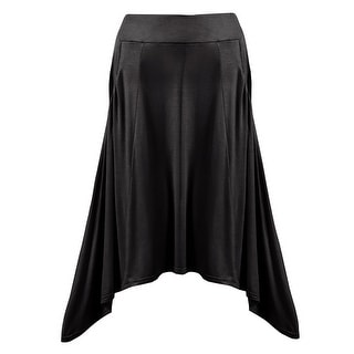 Women's Hi Lo Hemline Skirt - Knit A-Line Midi Skirt With Pockets