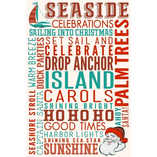 Seaside, CA - Christmas Typography - LP Artwork (Cotton/Polyester Chef's Apron)