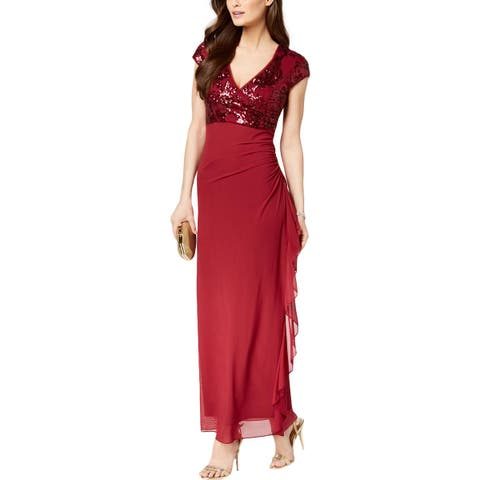 Betsy & Adam Womens Petites Evening Dress Sequined Ruffled