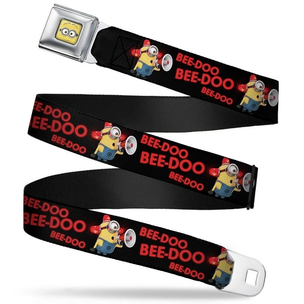 Minion Face Close Up Full Color Minion Carl Bee Doo Black Red Webbing Seatbelt Belt