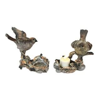 "Set of 2 Nature's Story Teller Bird on Branch Tea Light Candle Holders 5.5"""