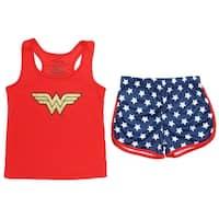 Wonder Woman Big Girls' Logo Mesh Tank & Shorts PJ Set