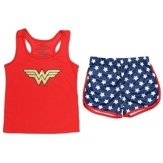 Wonder Woman Big Girls' Logo Mesh Tank & Shorts PJ Set