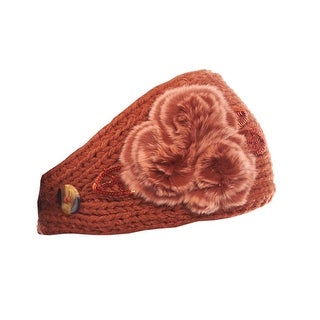 Girls Comfy Candytuft Knit Headband with Faux Fur Details