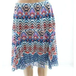 Multiples NEW Blue Tribal Print Large PL Petite A-Line Pull-On Skirt