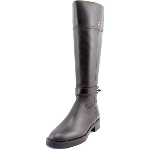 Coach Eva Wide Calf Women Round Toe Leather Brown Knee High Boot