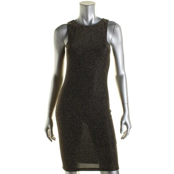 Aqua Womens Cocktail Dress Metallic Textured