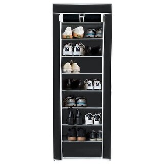 Costway 10 Tier Shoe Tower Rack With Fabric Cover 18 Pair Space Saving Organizer Black