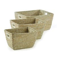 Napa Home and Garden RG2010 Rivergrass Three Piece Rattan Rectangular Basket Set - beige - n/a