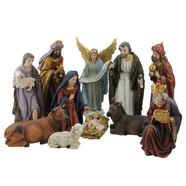 """11 Piece Serene Christmas Nativity Figure Set with Gold Colored Accents 12"""""""