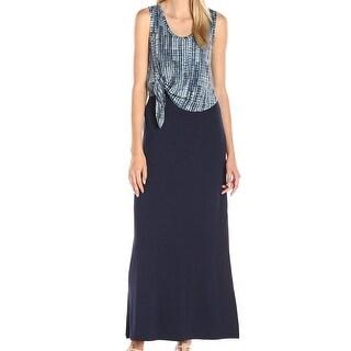 Karen Kane NEW Blue Women's Size XL Popover Tie-Front Maxi Dress