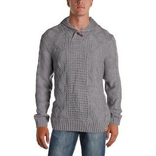Weatherproof Vintage Mens Shawl-Collar Sweater Long Sleeves Toggle - XL