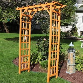 "Link to Sunnydaze Wooden Garden Arbor Trellis Arch for Plants - Outdoor Archway - 78"" H Similar Items in Outdoor Decor"