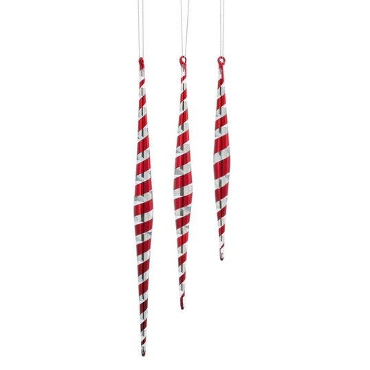 "Pack of 9 Red and Silver Swirl Glass Icicle Drop Christmas Ornaments 7.5""-11.5"""