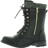 Forever Link Womens Mango-31 Round Toe Military Lace Up Knitted Ankle Cuff Low Heel Combat Boots