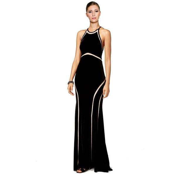 Xscape Mesh Stripe Illusion Panel Halter Evening Gown Dress - 8 ...