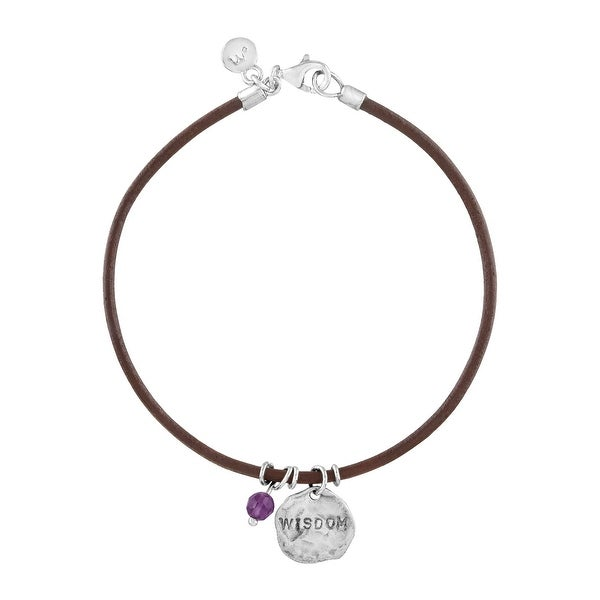 'Wisdom' Leather Charm Bracelet with Natural Amethyst in Sterling Silver - Purple