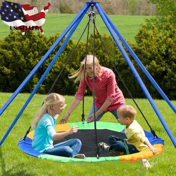 40'' Saucer Tree Swing Flying 660lb Colorful and Safety Swing - 40x30x60 inch. Opens flyout.