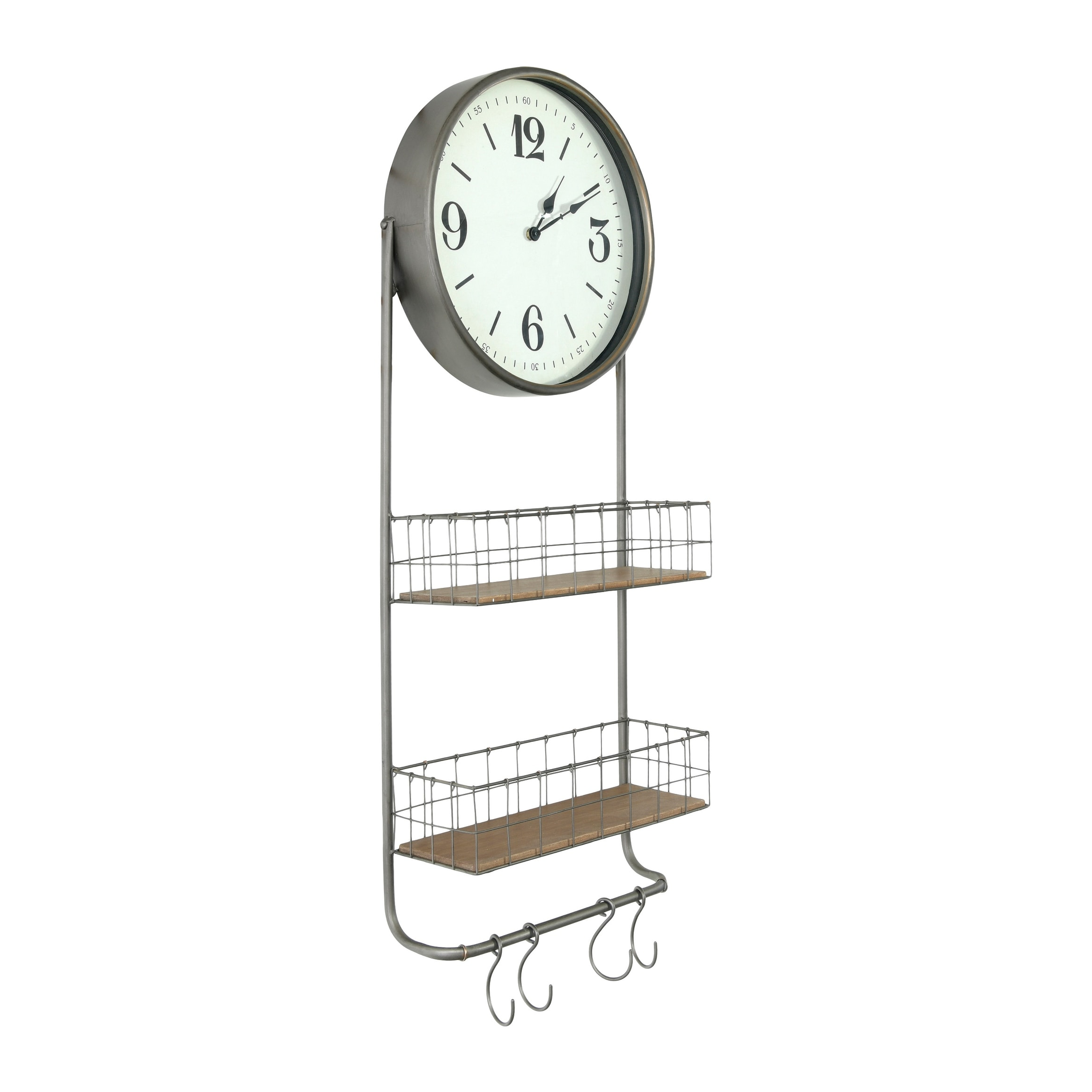 Round Metal Wood Wall Clock With 2 Storage Baskets Rod 4 Hooks Overstock 31283605