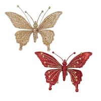 """Club Pack of 12 Red and Gold Glitter Butterfly Clip-On Christmas Ornaments 6.5"""""""