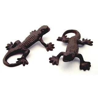 Cast Iron Rust Gecko Lizards Set of 4