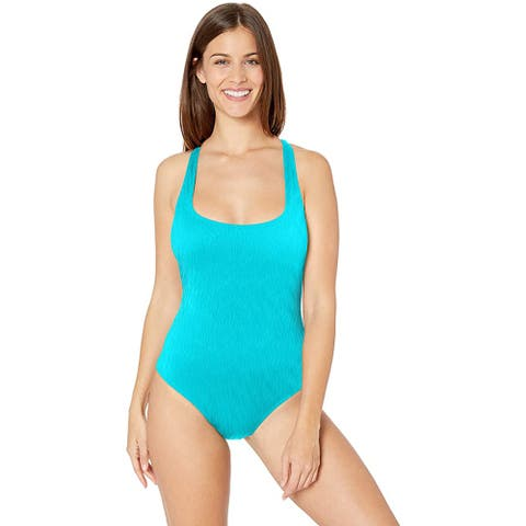 Athena Body Compression Cross-Back Tank One Piece, Wave After Wave Lagoon, 14