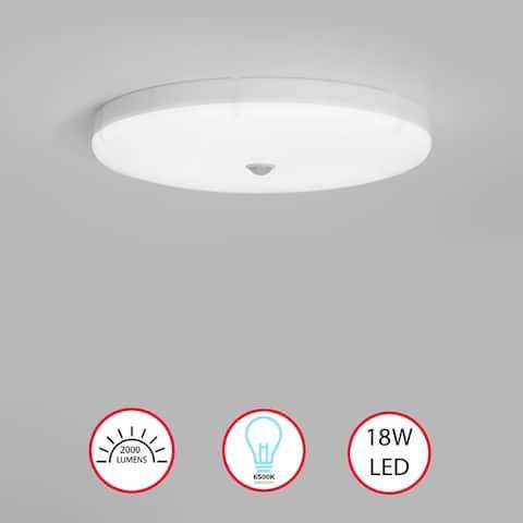 Round Sensor LED Ceiling Light Fixture 6500K Daylight, 1800lm 18W - N/A