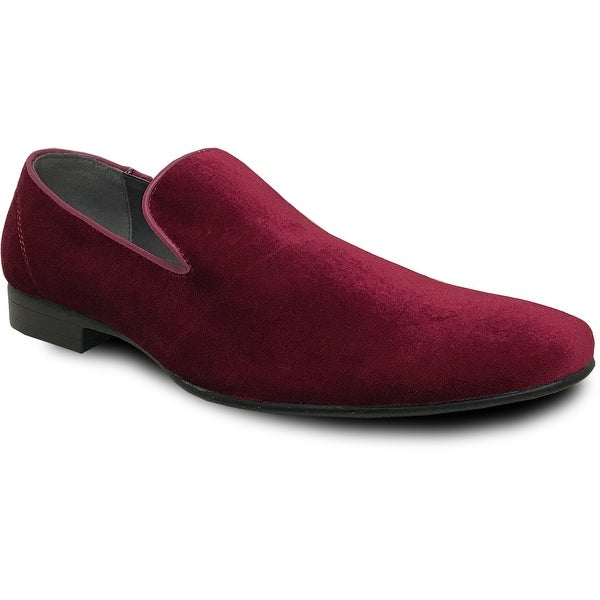 BRAVO Men Dress Shoe KLEIN-7 Loafer Shoe Burgundy Velvet with Leather Lining