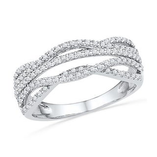 10kt White Gold Womens Round Natural Diamond Woven Band Fashion Ring 1/3 Cttw