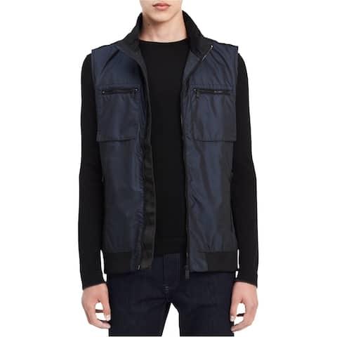 Calvin Klein Mens Nylon Raincoat, Blue, X-Large