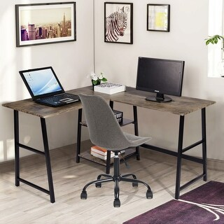 Link to Carbon Loft Angband L-shaped Corner Computer Desk with Shelf Similar Items in Desks & Computer Tables