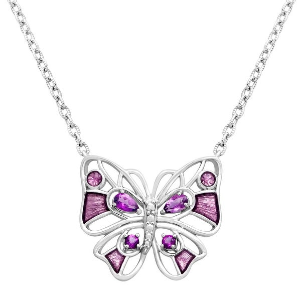 1/2 ct Natural Amethyst Open Butterfly Necklace in Sterling Silver - Purple