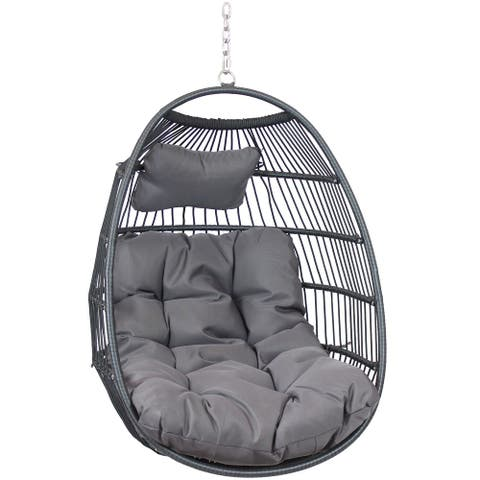 Sunnydaze Julia Hanging Egg Chair with Gray Cushions - 44 Inches Tall